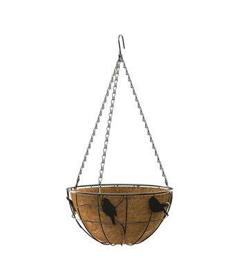 Hello Spring Gardening 14'' Hanging Basket-Perching Birds