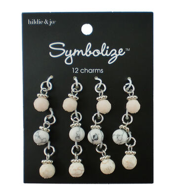 hildie & jo Symbolize 12 pk Round Silver Charms-Ivory, Black & Tan
