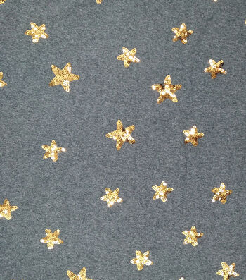 "Doodles Sequin Interlock Fabric 54""-Charcoal & Gold Stars"