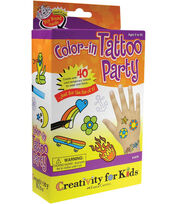Creativity for Kids Kit-Color In Tattoo Party, , hi-res