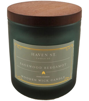 Haven St. Candle Co. 5 oz. Sagewood Bergamot Scented Wooden Wick Candle
