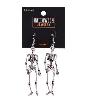 hildie & jo Halloween Jewelry Metal Skeleton Earrings-Antique Silver