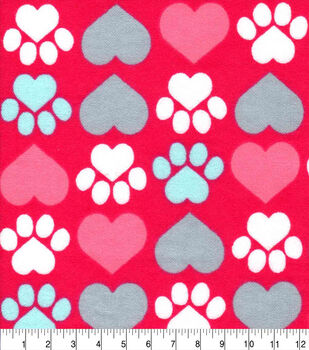 Valentine's Day Snuggle Flannel Fabric-Pup Heart Paws on Red