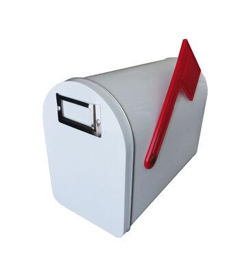 "Medium Tin Mailbox W/Flag&Label Holder-White, 6""H X 8.125""L"