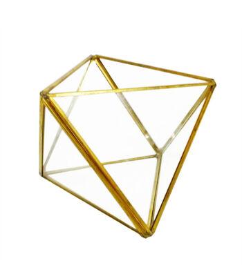 Bloom Room Glass & Metal Geometric Shape Terrarium-Gold Finish