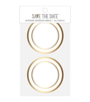 Save the Date 20 pk 3'' Gold Foiled Round Adhesive Labels