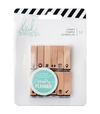 Heidi Swapp Memory Planner Pack of 12 Wood Mounted Stamps-Icons