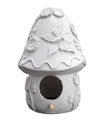 Simply Spring Birdhouse Large Resin-Mushroom House