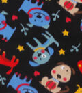 Blizzard Fleece Fabric 59\u0022-All Over Tossed Dog Black