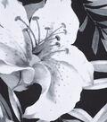 Silky Print Rayon Fabric 53\u0027\u0027-White Flowers on Black