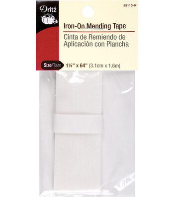 """Dritz Iron-On Mending Tape-1-1/4""""W x 64"""" White"""