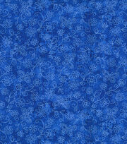 Keepsake Calico Cotton Fabric-Sundrenched Flowers & Butterflies on Royal, , hi-res