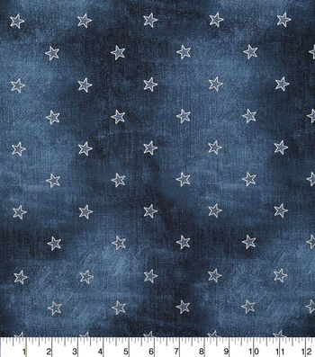 Patriotic Cotton Fabric-Blue Jeans With Foil Patch