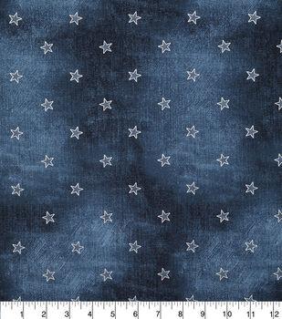 Patriotic Cotton Fabric-Blue Jeans With Foil Patch