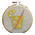 Cross Stitch Style Hoop Ornament Kit-Lemonade