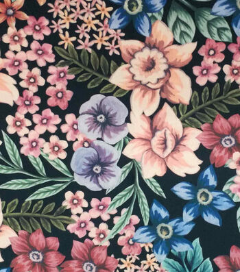 Silky Stretch Satin Textured Fabric-Multi Floral on Black