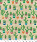 Novelty Cotton Fabric-Natural Cacti on Sand