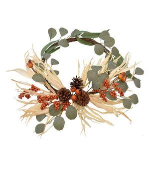 Blooming Autumn Pinecone, Berry & Greenery Minimalist Wreath