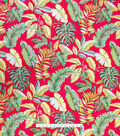 Cotton Shirting Tropical Fabric -Red Tropical Paradise