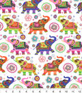 Snuggle Flannel Fabric -Patterned Elephants