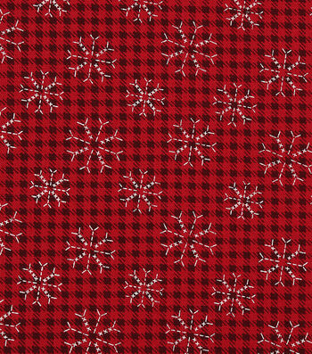 """Christmas Cotton Fabric 43""""-Stitched Snowflakes"""