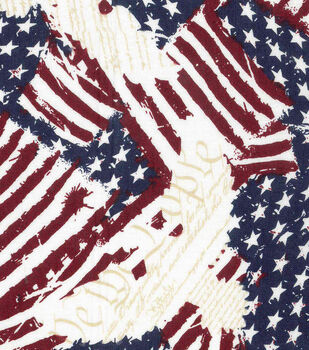 Patriotic Cotton Fabric -Eagle on Flags