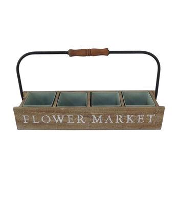 In the Garden Wooden Basket-Flower Market