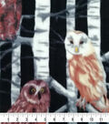 Super Fleece Fabric 58\u0027\u0027-Owls in Birch Trees
