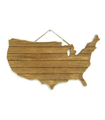 "Camp Ann Crafts 11""x18"" Rustic Wood USA"