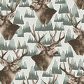 No Sew Fleece Throw-Stags Brown Green