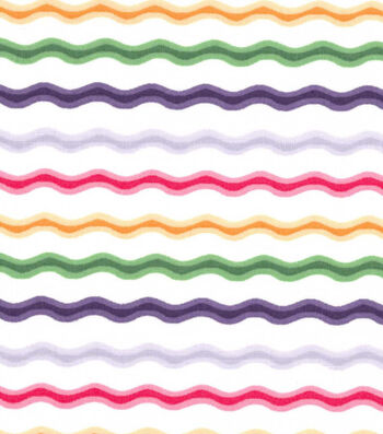 Easter Cotton Fabric -Rick Rack Stripe Bright