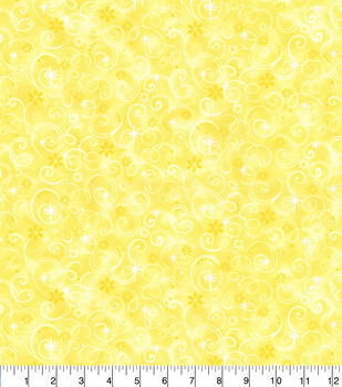 Keepsake Calico Cotton Fabric-Yellow Fairy Swirls