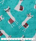 Novelty Cotton Fabric-Library Llamas on Aqua