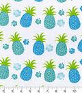 Snuggle Flannel Print Fabric -Blue Green Pineapple