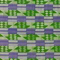 Cotton Shirting Fabric-Green & Blue Kente