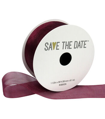 """Save the Date 1.5"""" x 30ft Ribbon-Cranberry Sheer"""