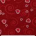 Valentine\u0027s Day Print Glitter Fabric -Red with Hearts & Scrolls