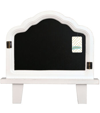 "Distressed Chalboard Easel 13x13""-White"