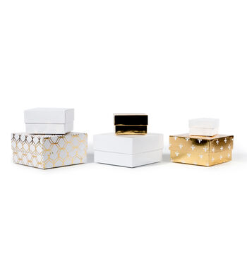 DCWV Designer Set of Nested Boxes: White and Gold