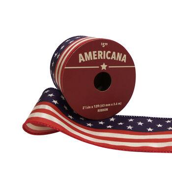 "Americana Printed Ribbon 2.5""x12'-Flag"
