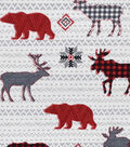 Snuggle Flannel Fabric -Checked Animals & Gray Stripes on White