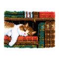 Vervaco Latch Hook Rug Kit 21.25\u0027\u0027X15.5\u0027\u0027-Cat On Bookshelf