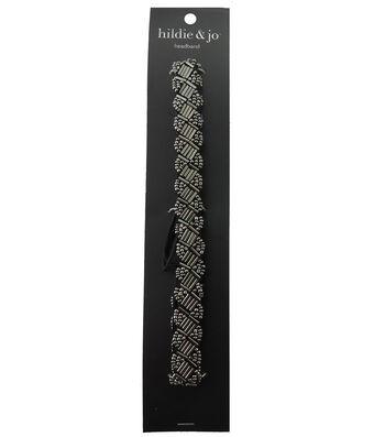 hildie & jo Soft Headband-Gray Oblong & Oval Bead