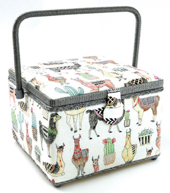 Large Square Sewing Basket-Llama