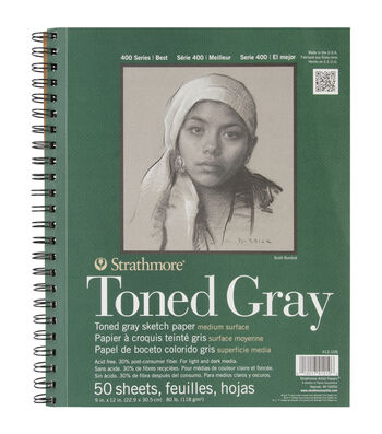 "Strathmore Toned Sketch Spiral Paper Pad 9""x12""-Gray 50 Sheets"