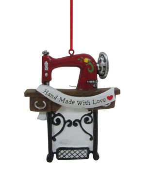 Handmade Holiday Christmas Sewing Machine Ornament-Hand Made with Love