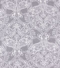 Anti-Pill Plush Fleece Fabric-White Damask on Gray