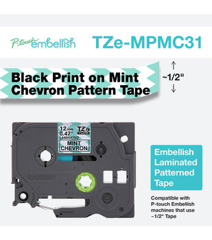 Brother P touch Embellish Patterned Tape Black Print on Mint Chevron