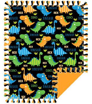No Sew Fleece Throw-Baby Dino Black