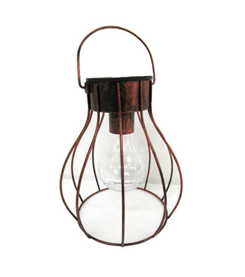 Hello Spring Long Cage Solar Hanging Lantern-Bronze